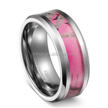 6mm Tungsten Meatal Ring Women's Camo Hunting Camouflage Comfort Fit Wedding Band Pink Tree