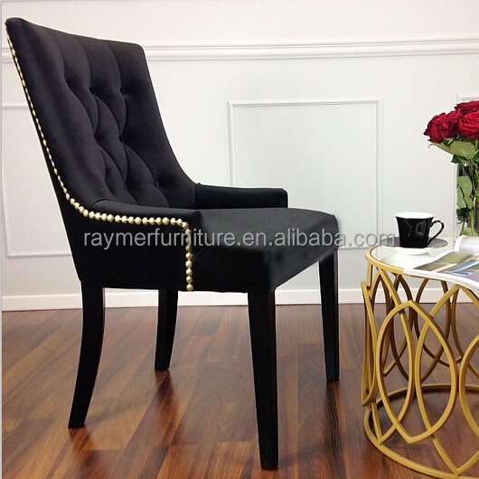 Black Velvet Fabric French Button Tufted Gold Back Ring Dining Chair