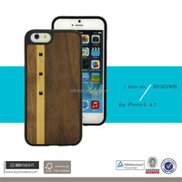 Wooden Back Cover Case For iphone6/6plus , 3D phone case for iphone 6 plus with Shinning Crystal