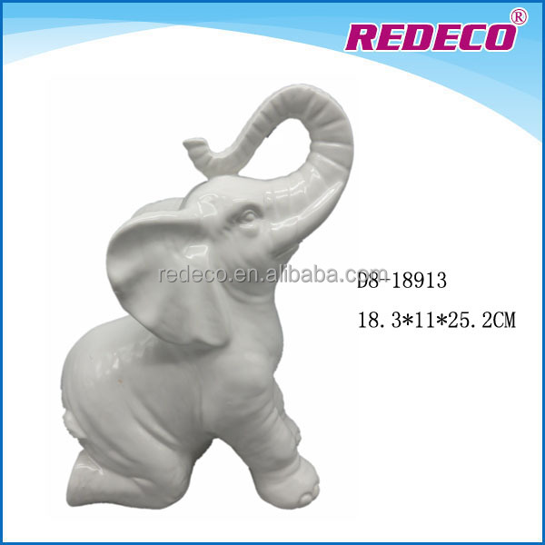 Unique porcelain elephant statue for home decoration