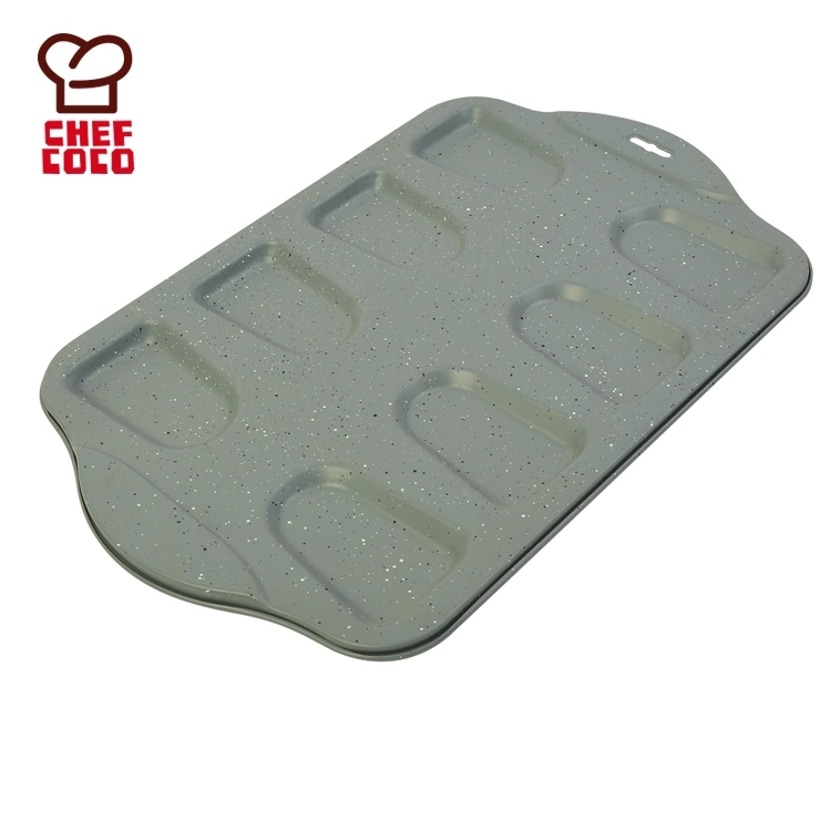 carbon steel 8 cavity cake baking pan with marble coating supplies