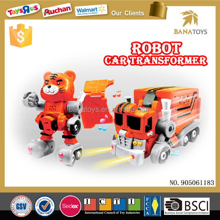 Battery opearated Transform car plastic robot toy