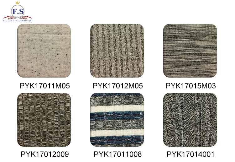 62/34/4 Poly/Cotton spandex rib knit with sassy yarns for dress fancy knitted fabric