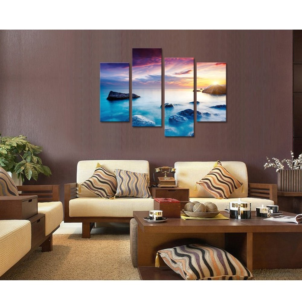 Seascape Canvas Wall Art/Rock Sea Pictures Canvas Prints Decor/Sunrise Ocean Stretched and Framed Canvas Art