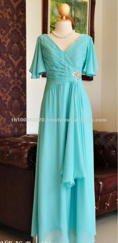 Elegant Double V-neck sheer flutter sleeves evening dress