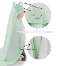 100 polyester cute applique with hood Flannel Kids milestone swaddle baby blanket