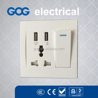 electrical multi wall socket switch with dual USB charger port