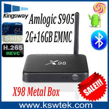 Newest factory price 2gb+16gb x98 firmware update amlogic s905 kodi quad core x98 android tv box