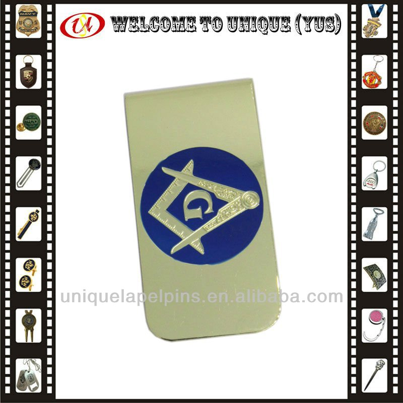 Custom masonic money clip with gold plated