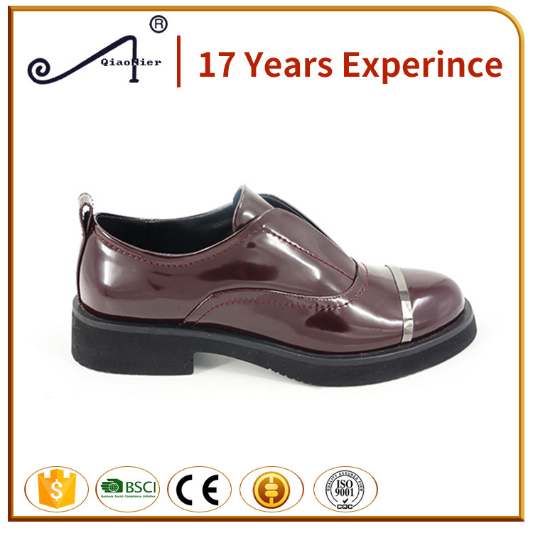Popular and newest flat patent leather casual shoes flat women shoes