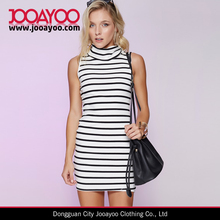 White and Black Stripe Dress Sleeveless Turtle Neck Slim Fit Mini Dress