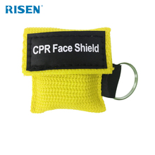 Promotion cpr mask keychain medical supply cpr face shields red fabric pouch with keyring for sanitary training