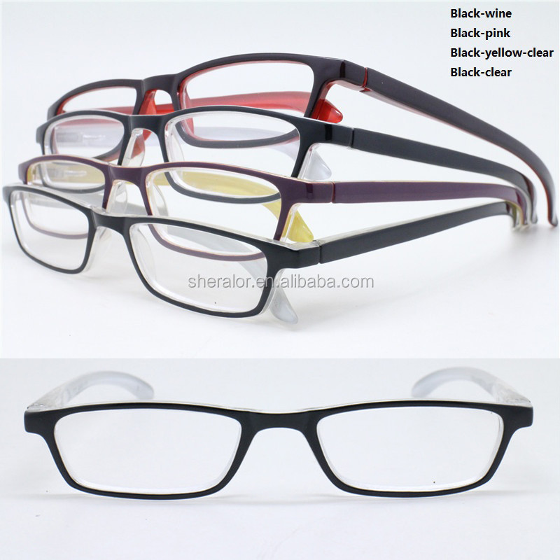 Dual color plastic built-in flexible hinge rectangle light weight colorful reading glasses