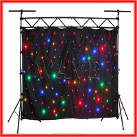 HOT WLK-1F Black fireproof Velvet cloth four leds star backdrop led light star curtains