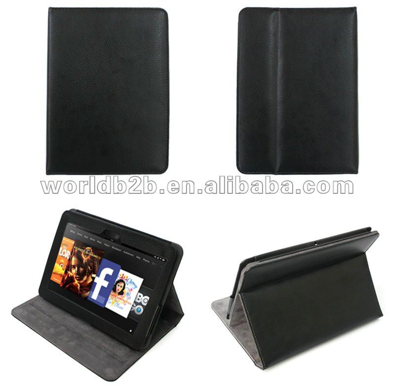 Multi-Angle Adjustable Leather Flip Folio Stand Case for Kindle fire HD/ KINDLE FIRE 2