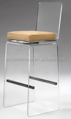 Clear Acrylic Cross Bar Stool with Upholstered Seat and Stainless Steel Foot Rest