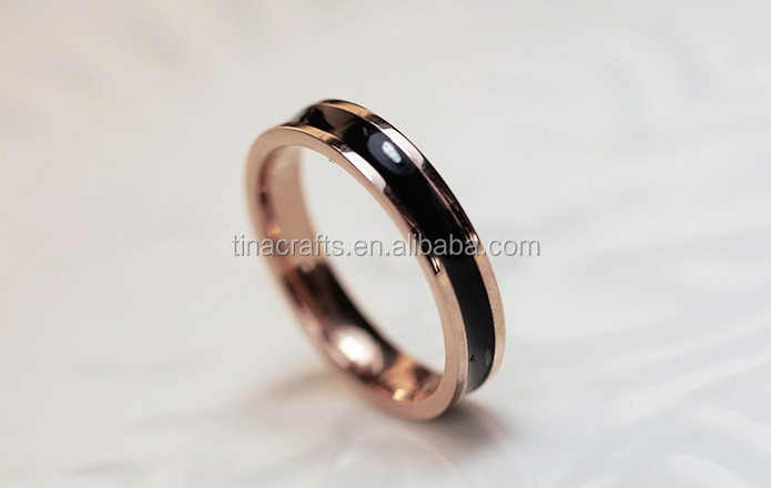 Black and white epoxy stainless steel ring