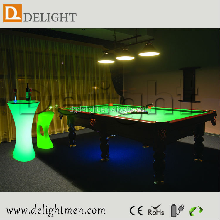 China supplier color changing waterproof glowing rechargeable remote control modern glass bar table