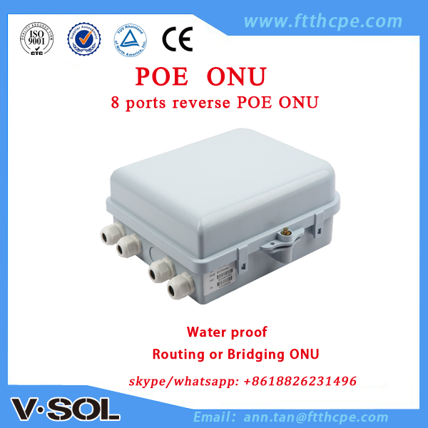 PAC switch Reverse PoE ONU 8FE surge protection water protection IP65 EPON ONU Suite for outdoor application