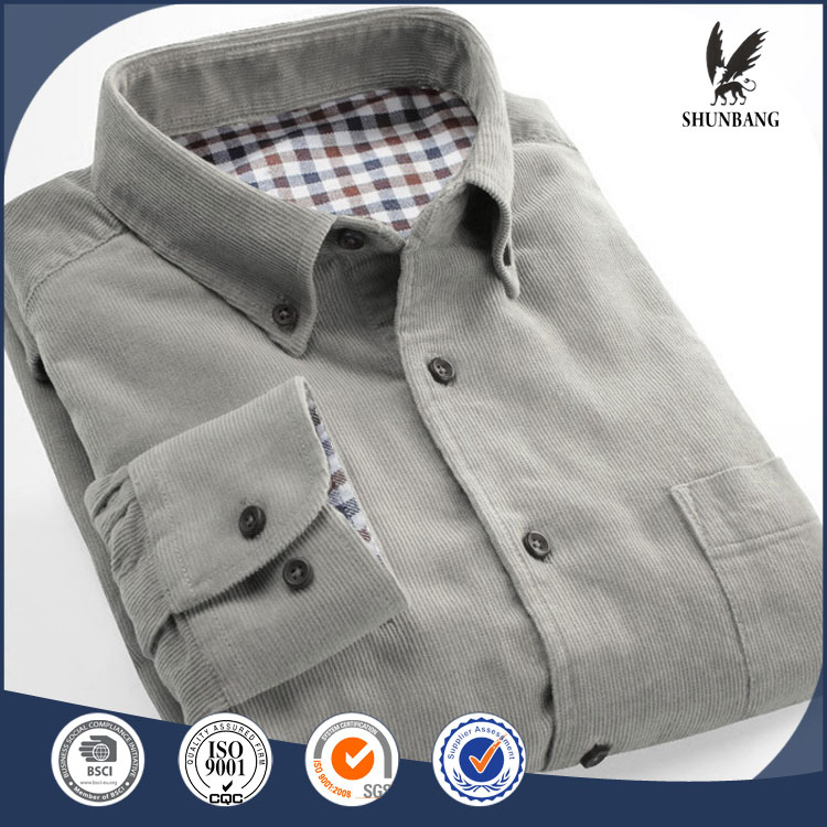 Latest slim fit cheap long sleeve corduroy shirts for men pictures