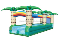 Cheap inflatable double lane slip slide with jungle theme M4026