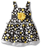 Summer sleeveless cotton children frocks yellow and white dot frock