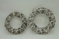 Rattan and cotton wreath Christmas decoration
