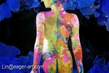 New Design Nude Girls Painting Naked Girl Handmade Drawing Body Painting