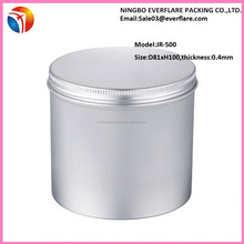Big capacity plain aluminum screw top tins in 500ml