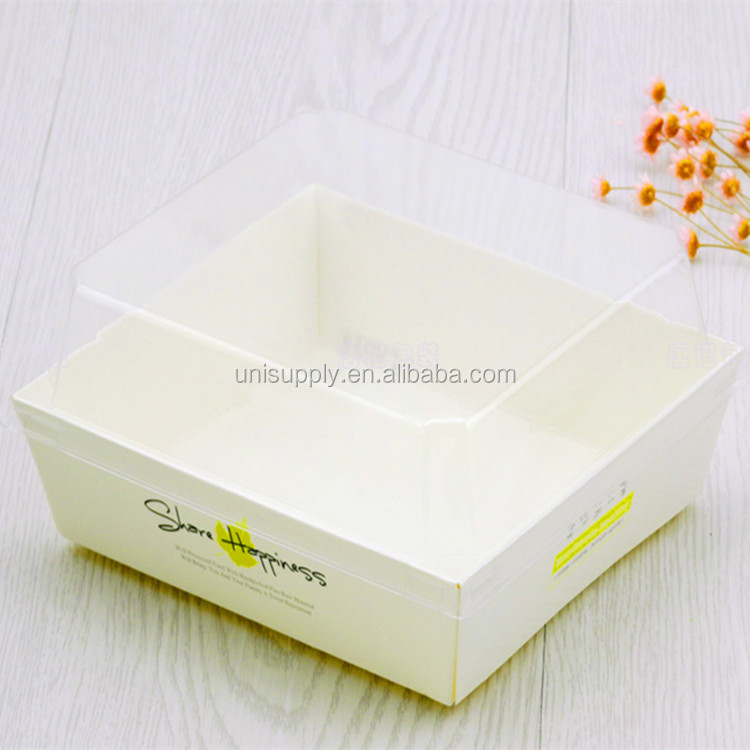 Custom Handmade Decorative Rectangle Paper Cardboard Packaging with Clear Lid for Sandwich Dessert