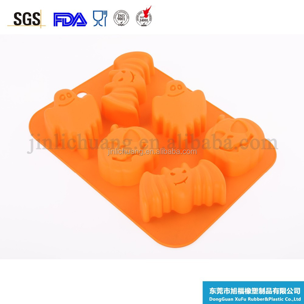 LFGB approved Halloween promotional gift pumpkin shape funny looking silicone chocolate mold