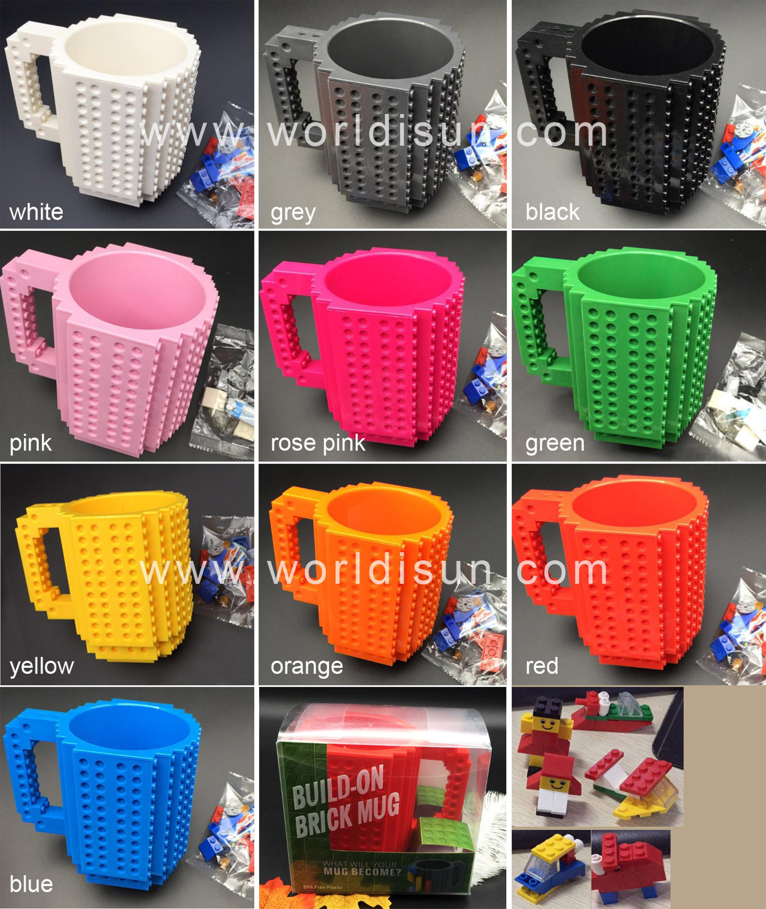 Build-on brick mug coffee cup diy type plastic lego mug cup christmas gift items