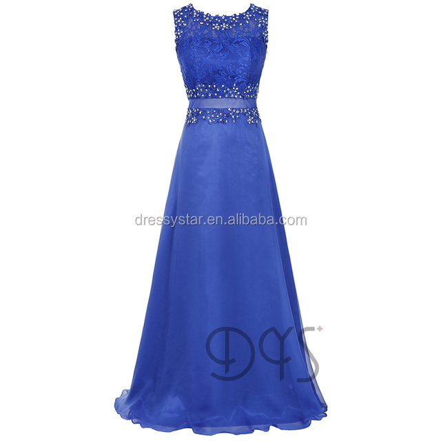 New arrival hottest China factory long a-line chiffon lace top royal blue bridesmaid dresses