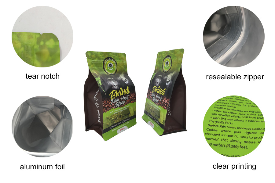 Good quality 250g custom print tear notch side gusset flat bottom lined aluminum foil coffee packaging bags