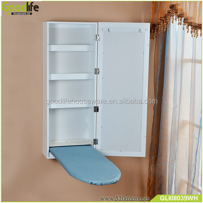 Folding wall mounted ironing board with waterproof fabric