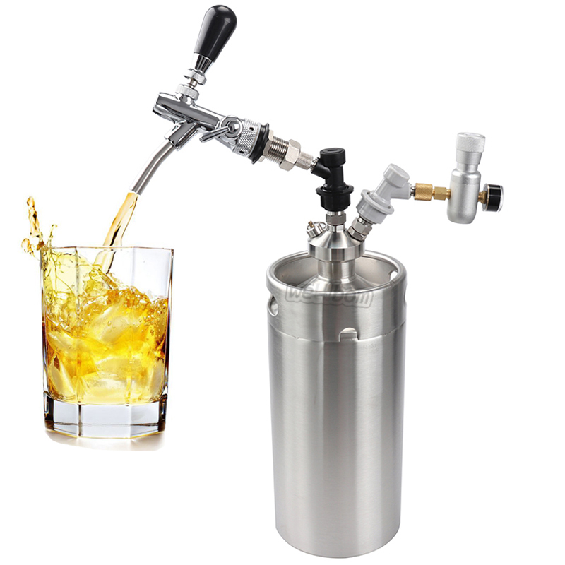 Stainless Steel 10L Beer Keg Growler Wine Pot Unbreakable Home Brewing Beer Making Bar Tool