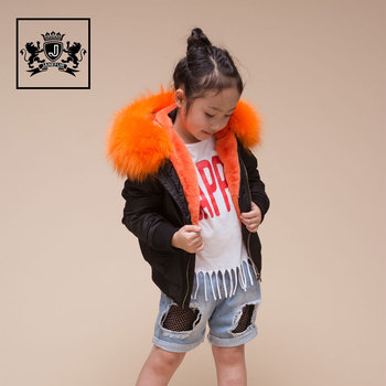 Selling Kids Warm Faux fur Lined Flight Jackets Raccoon Fur Hooded Coat Bomber Jacket