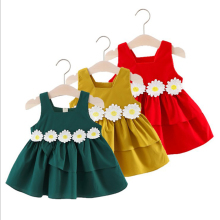 Korean New Design Cotton Lovely Princess Dress Summer Sleeveless Party Dress Fashion Little Girls Casual Dress