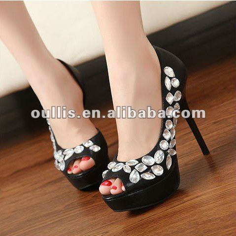 crystal and pearls high heel shoes heel summer sandle LM109