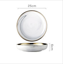 Gold Rim Marble Pattern 10 Inch Ceramic Dinner Deep <strong>Plate</strong>