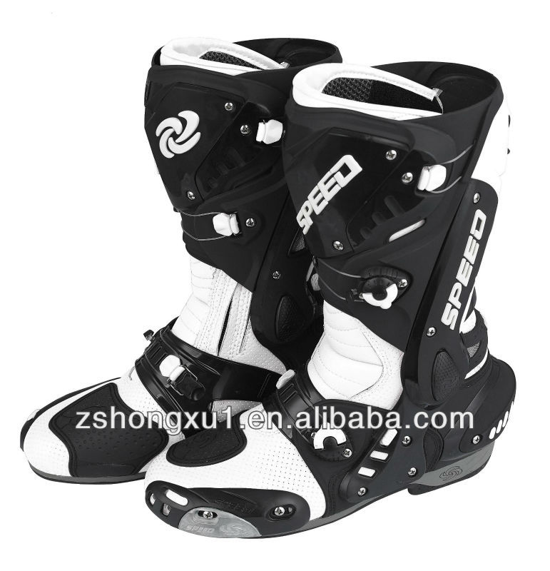Professional White color (Motocross) Motorcycle Sports Boots B1003 (White, Red, Black)