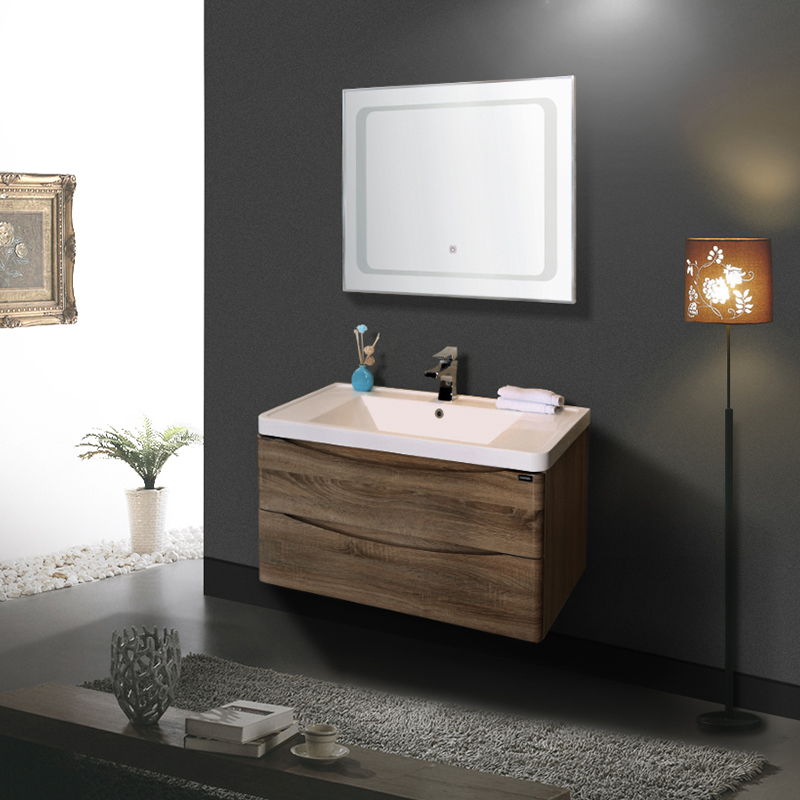 EC811F-9 China wholesale custom cabinet bathroom vanity with ceramic basin