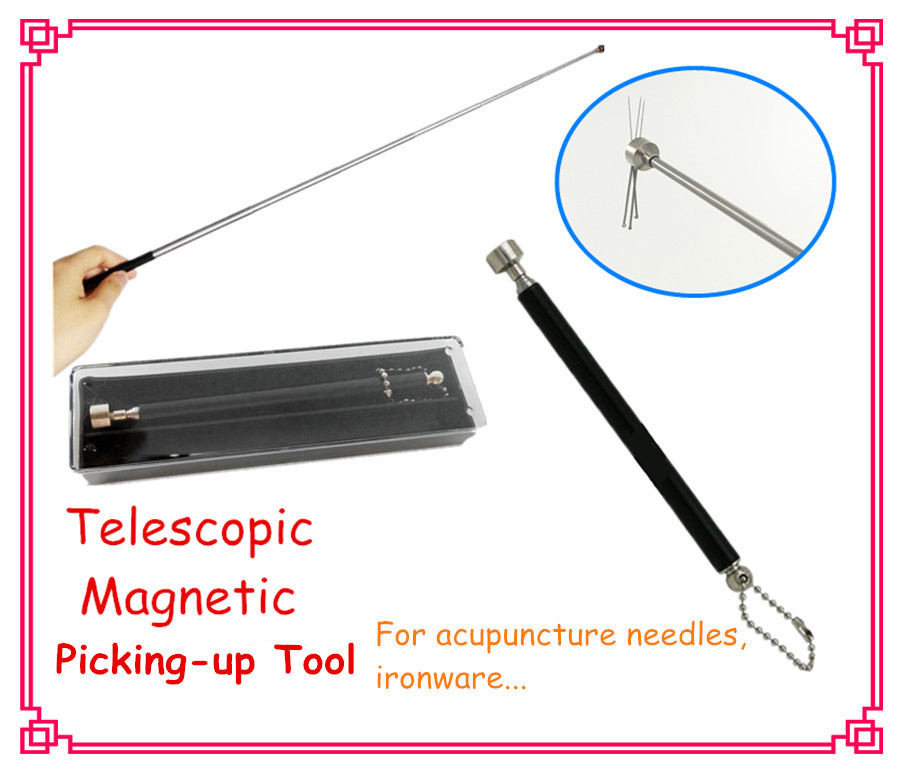 Multi-functional stainless steel picking-up tool telescopic flexible stick for acupuncture needles