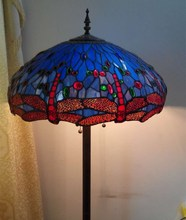 led light cocktail table Dragonfly blue manual solder glass lamp shade