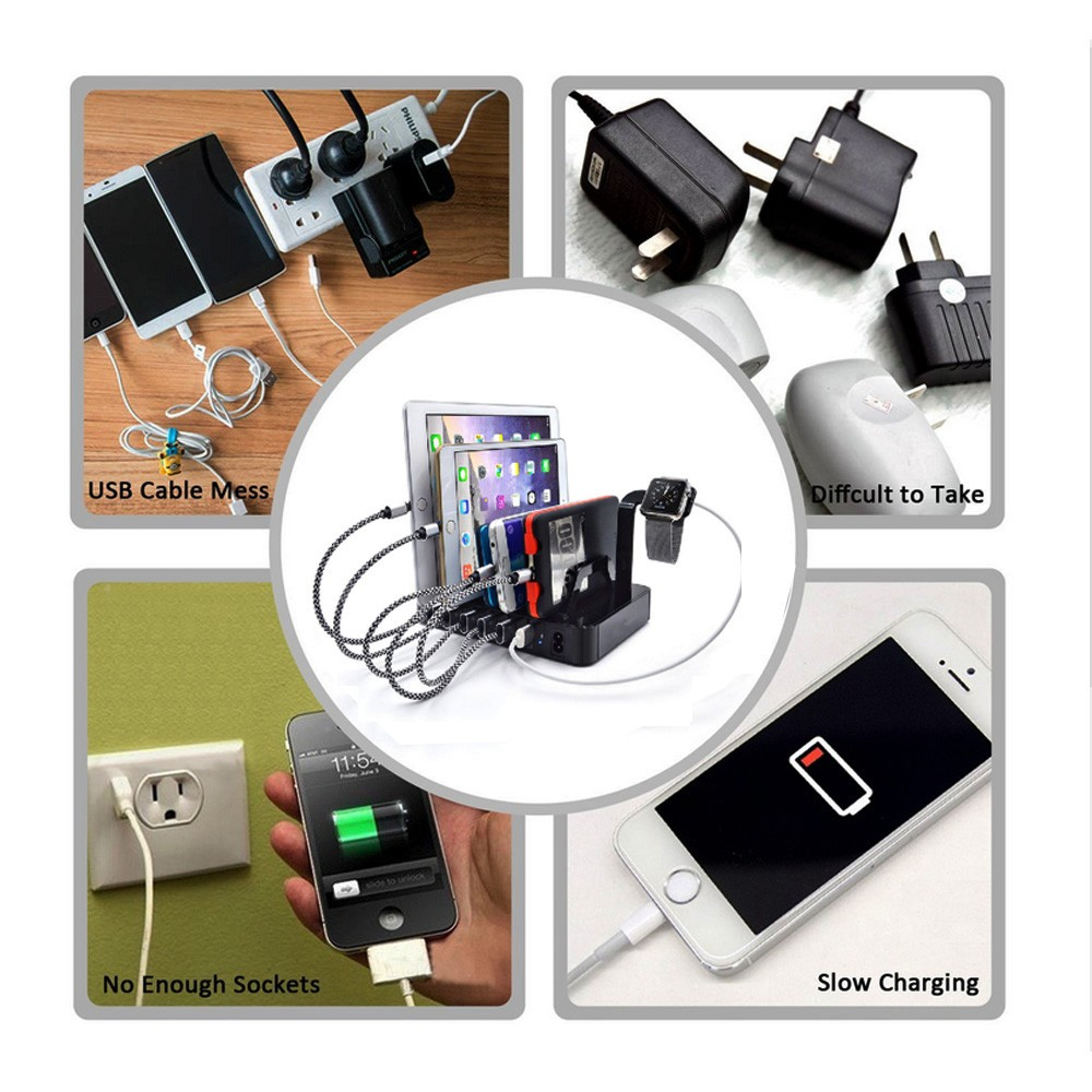 Multi electronic 6 usb port charging station for mobile phone