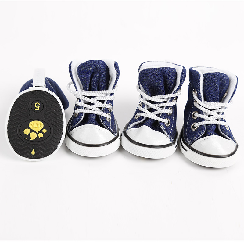 4pcs/lot Pet Dog Cat Footwear Dog Walking Sneaker Jeans Shoes Denim Dog Shoes