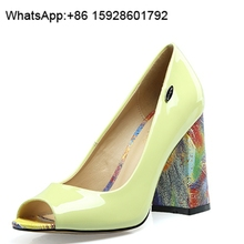 Colorful Thick high heel Women Pumps Sexy ladies Fish Mouth Dress Shoes TL2