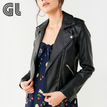 Winter clothing custom faux leather jacket wholesale woman motorcycle leather jacket