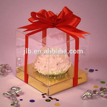 custom accepted cup clear plastic storage cake boxes with bowknots