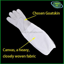 Goatskin leather beekeeping gloves with white canvas sleeve